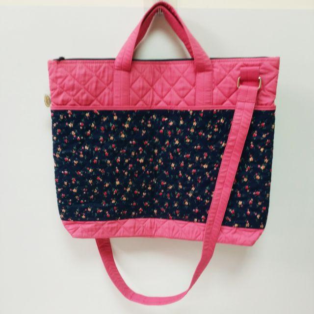 曼谷包 NaRaYa 粉色 藍底小碎花 手提袋 肩背包 斜背包 內層防水 兩側隔層 收納袋 防水內袋
