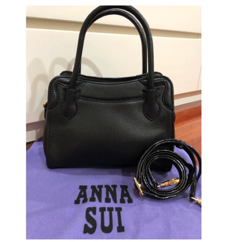 ANNA SUI黑色優雅全皮手提、肩背包