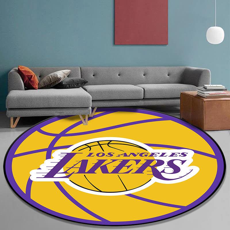 科比NBA元素紀念地毯 客廳臥室地毯NBA創意圓形地毯湖人勇士火箭臥室卡通電腦椅吊籃轉椅子地墊