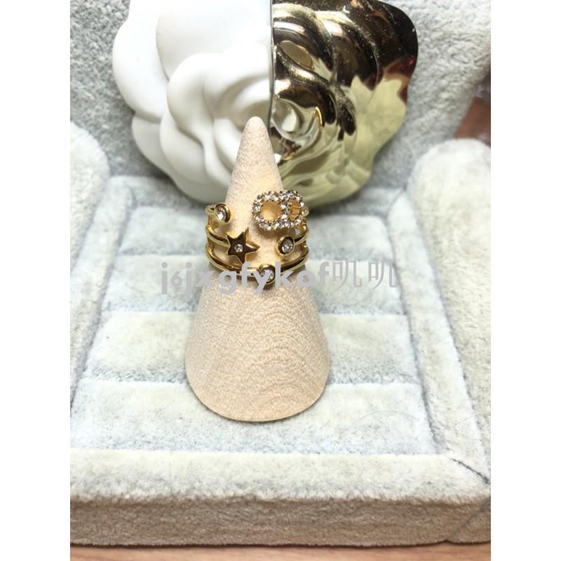 DIOR 超美 二手 三環造型 CD水鑽 金屬星星 金色 戒指 (內直徑約1.7)