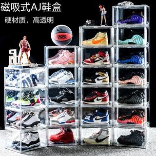 aj透明收納鞋盒防塵翻蓋磁吸組合鞋櫃鞋子收納盒PET塑膠盒訂製