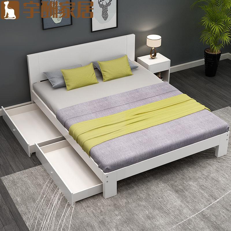 【宇酬家具】簡約現代實木床家用單人1.5米簡易雙人1.8m省空間1.2出租房經濟型
