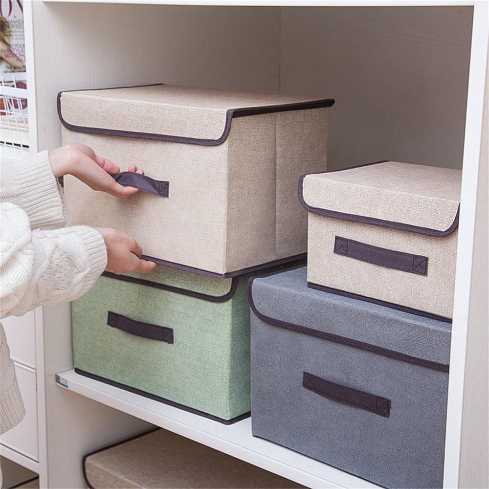 折疊收納箱、整理箱、下掀式、側開、大號、帶蓋、居家布藝折疊收納箱儲物箱帶蓋防塵便攜盒衣物雜物多功能儲物箱、手提、帶滑輪、