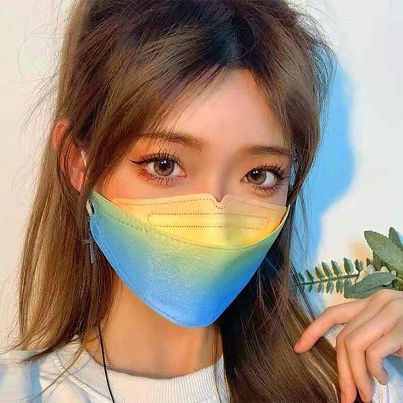 KF94口罩 彩虹漸變色 韓版新款口罩 三層防護 立體口罩 成人4D魚型口罩 柳葉型 女神專用