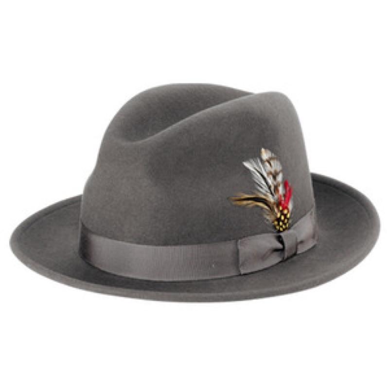 美國 NEW YORK HAT  - THE FEDORA 三凹長簷紳士帽 - 灰色