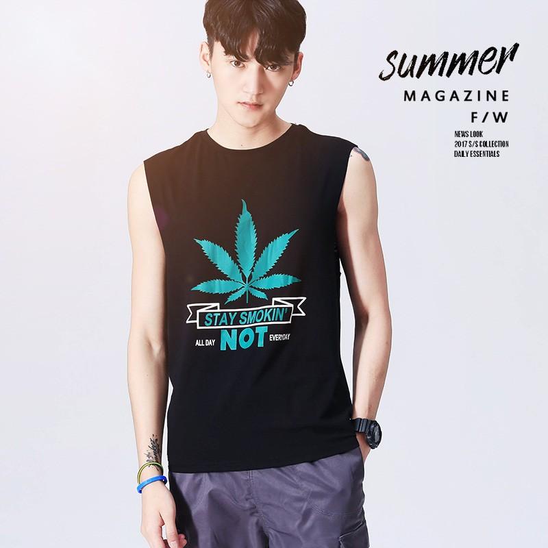 夏季新款海灘風簡約無袖T恤精梳棉運動休閒背心