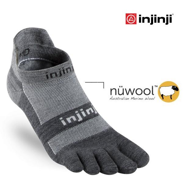 【Injinji 美國】RUN 輕量羊毛吸排五趾隱形襪 輕量羊毛隱形襪 五趾襪 碳黑色 (1795)