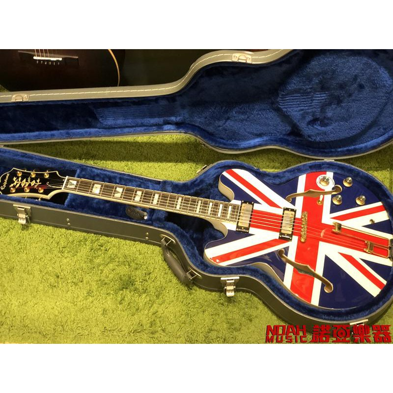 【諾亞樂器】嚴選二手 Epiphone Union Jack Sheraton 爵士半空心 電吉他限量版 英國國旗