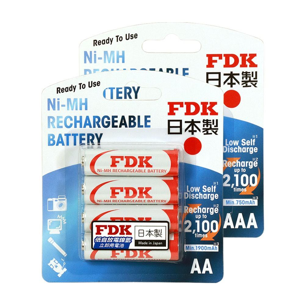 FDK 日本製 大容量低自放電3號+4號鎳氫充電電池 (各4入)