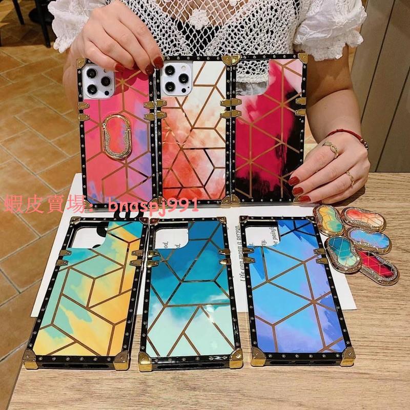 三星A52 A51 A71 A32 A72 A42菱形絢彩方形手機殼Note20x小蠻腰折疊支架保護殼iPhone12