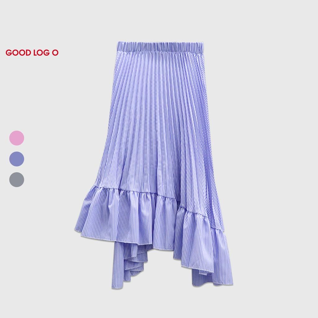 GOOD LOG O 氣質 優雅 不規則 荷葉邊 中長裙 FSH-3002