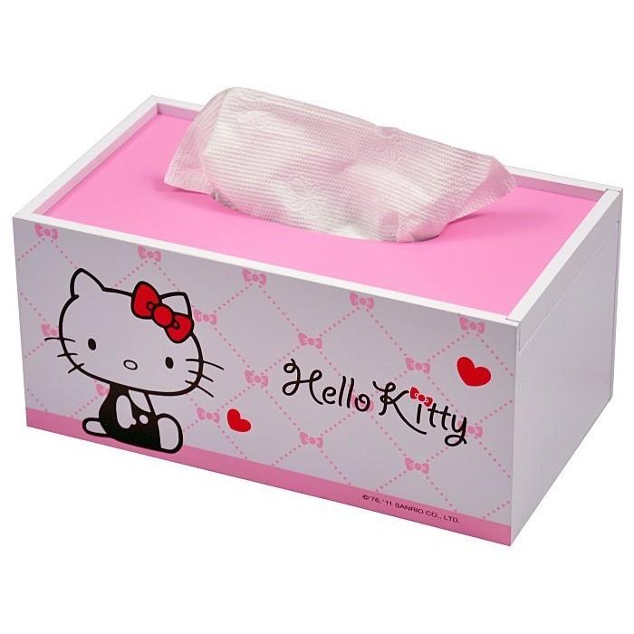 Hello Kitty 木製面紙盒《白.甜蜜愛心》實用美觀