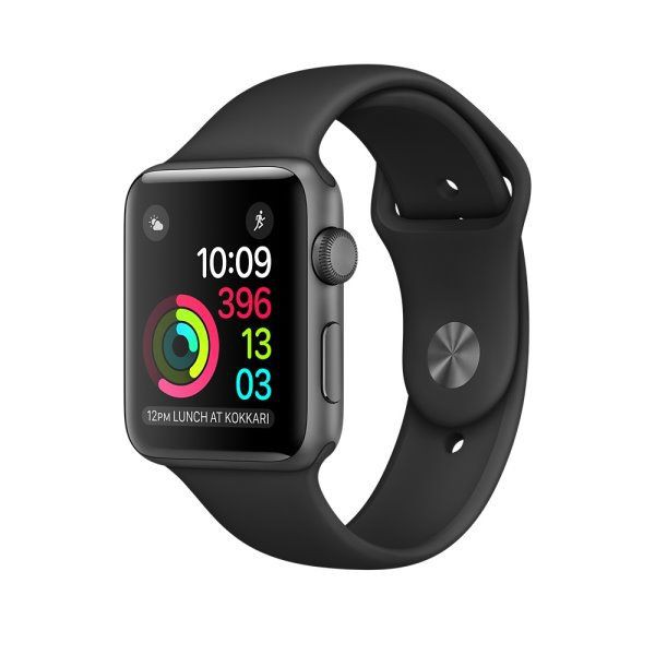 Apple Watch Series 2 智慧型手錶 ,42公釐太空灰色鋁金屬錶殼 搭配黑色運動型錶帶 _ 原廠公司貨