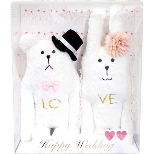 日本正版 CRAFTHOLIC 宇宙人 RAB SLOTH 結婚禮盒 兔:45 cm 熊:39cm