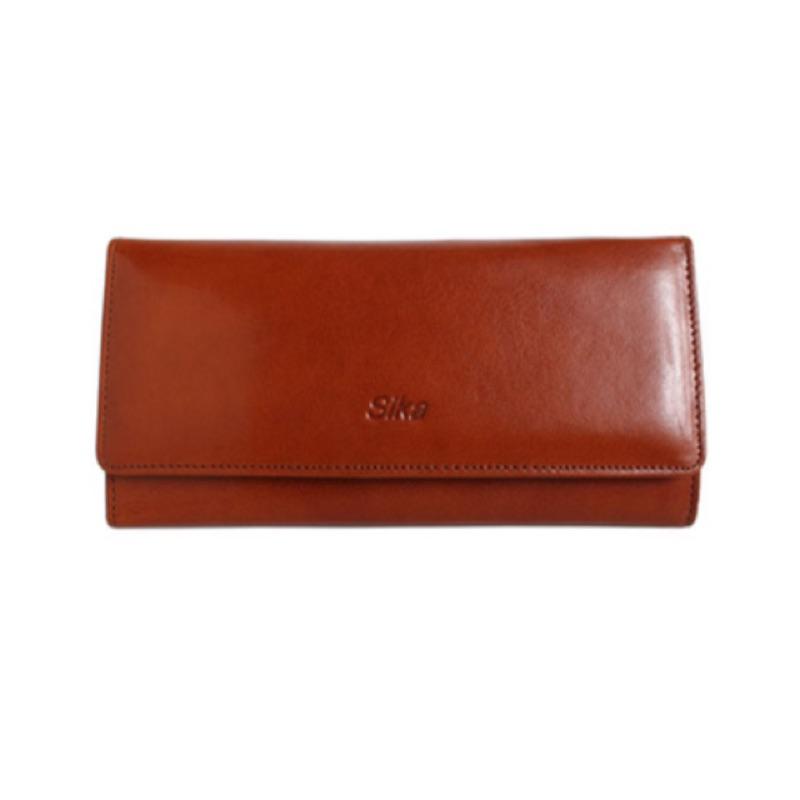 [正品全新現貨][Sika]義大利時尚真皮雙扣三折長夾(A8216-01原味褐)