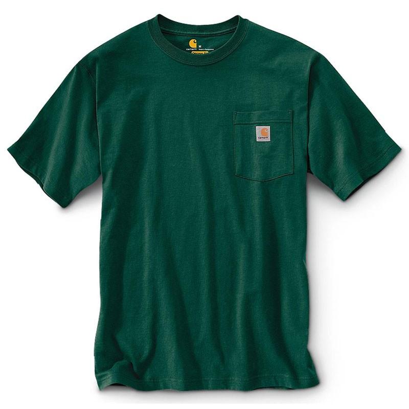 CARHARTT - K87 HTG 美線 Pocket Tee 口袋 短T 素T (HTG 森林綠) 化學原宿