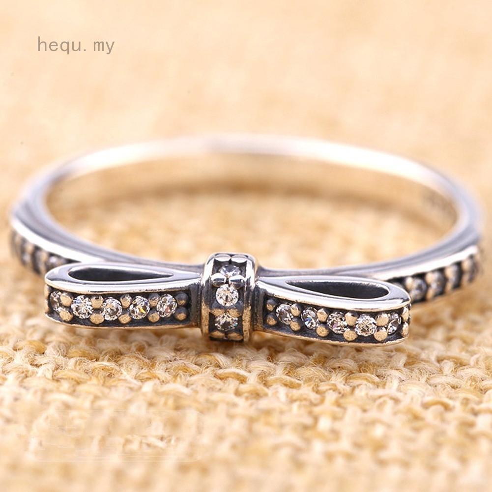925純銀蝴蝶結戒指歐洲,配水晶石首飾尺寸6-10
