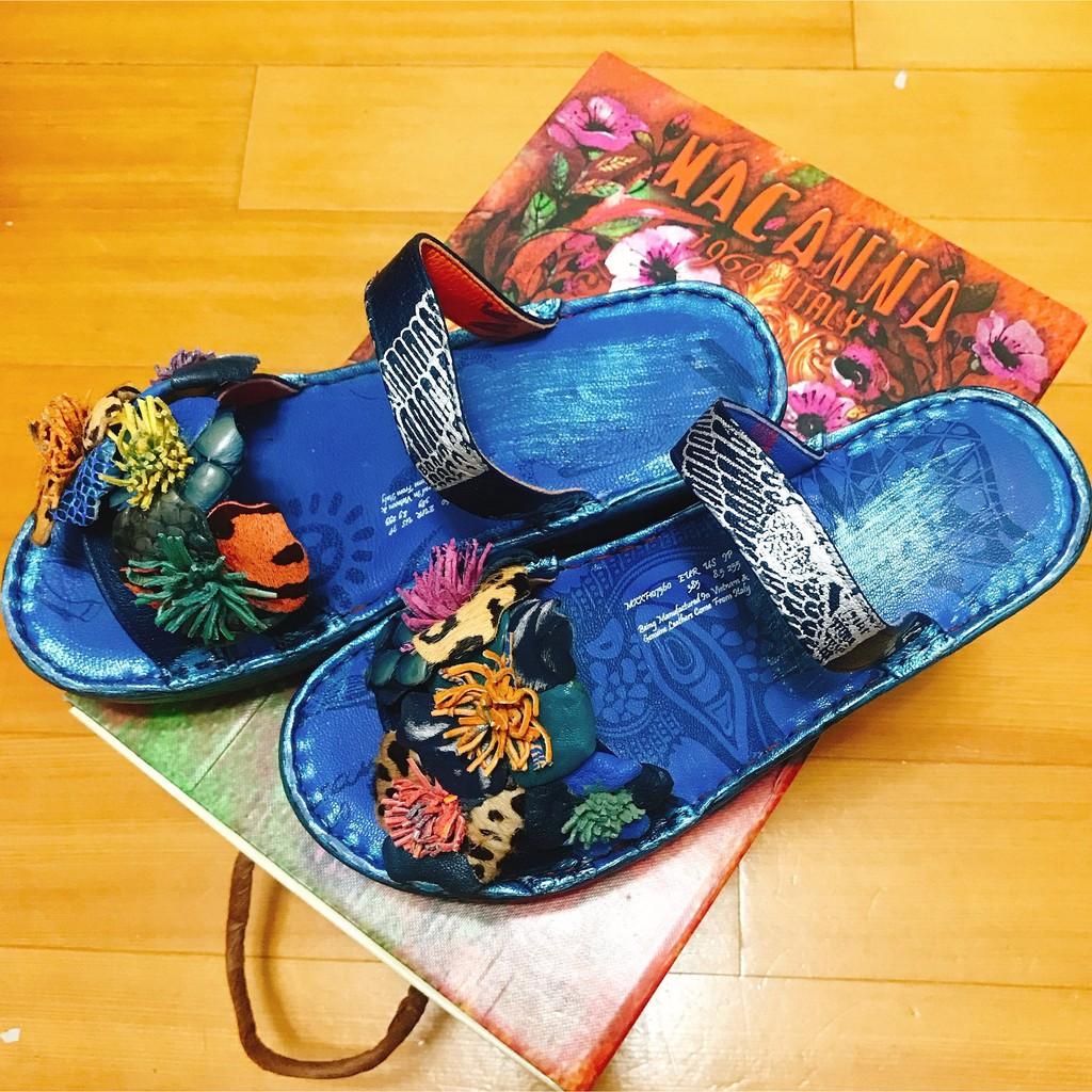 ✿全新 ∥ 原價5880 麥坎納 MACANNA MXXF107560 氣墊厚底 真皮拖鞋 特殊牛羊皮混色飾花 專櫃購入
