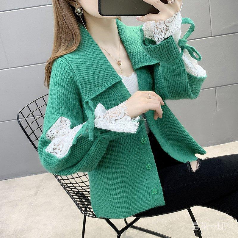 春裝很仙的毛衣女開衫2021年新款女士翻領短款洋氣外穿甜美女外套 i4Bb
