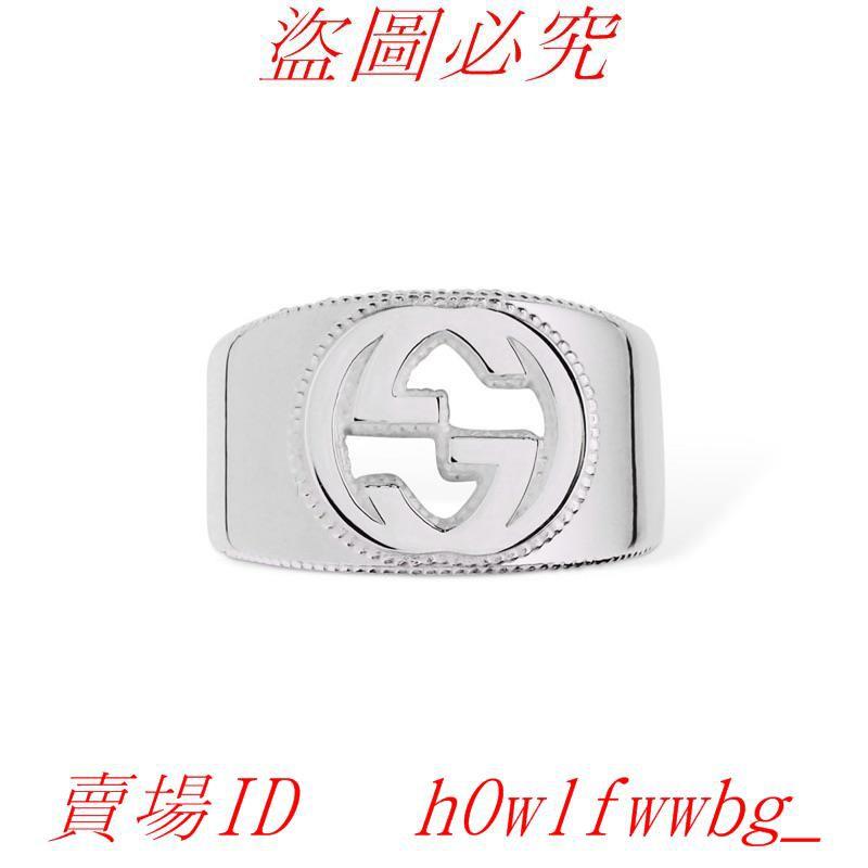 Gucci interlocking G鑲邊純銀戒指