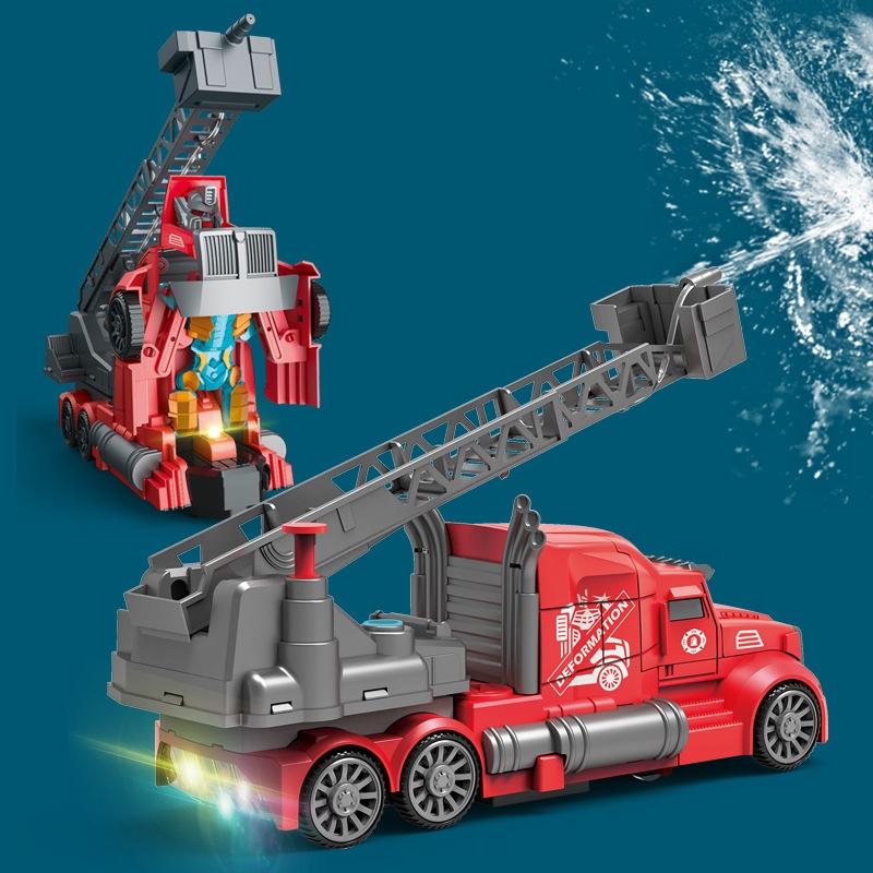 玩具 合金車 工程車 直升機 警車 小汽車 吊車 交通造型玩具   電動變形可噴水灑水消防車兒童萬向聲光交通云梯車2合