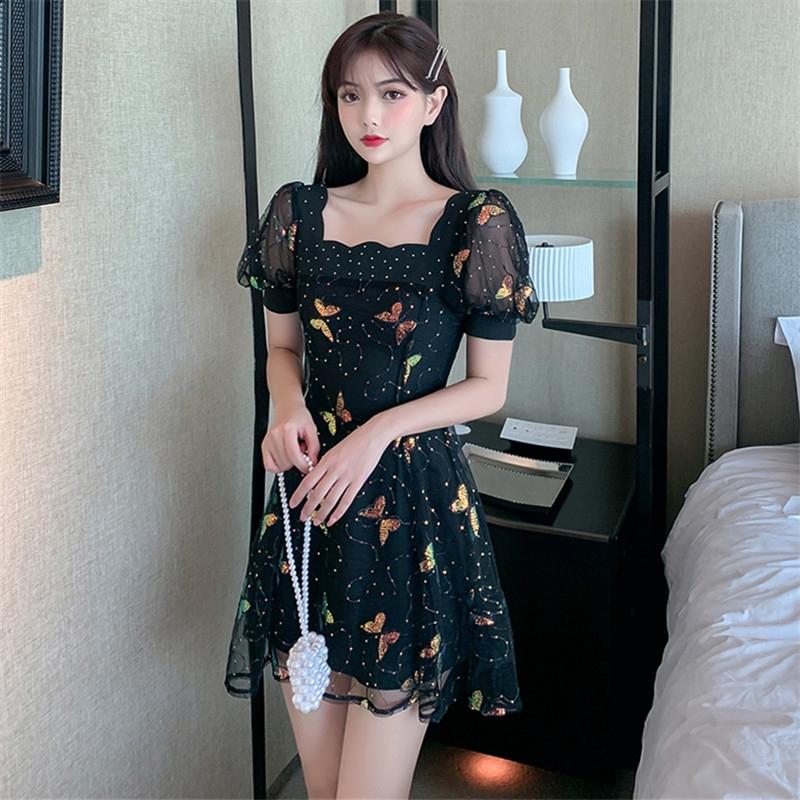 蝴蝶洋裝泡泡短袖網紗a字裙洋裝收腰甜美小洋裝連衣裙