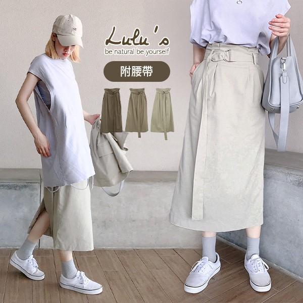 LULUS【A04200193】Y自訂款壓摺中裙附腰帶3色0910