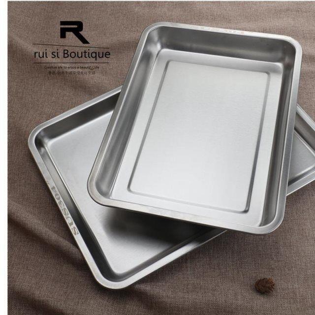 ✽☃☬加深加厚304不鏽鋼方盤長方形托盤燒烤深盤餐盤蒸飯菜盆盤子茶盤