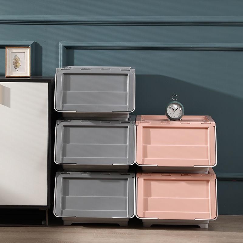 簡約 前開式 兒童玩具收納箱 雜物整理箱 透明翻蓋零食收納盒 抽屜收納櫃 斜開式儲物盒 家用多功能收納箱 零食儲物箱