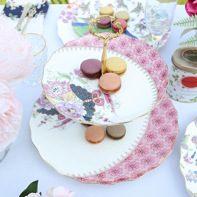 【mkcc】英式下午茶骨瓷雙層點心盤架陶瓷家用水果蛋糕盤復古田園