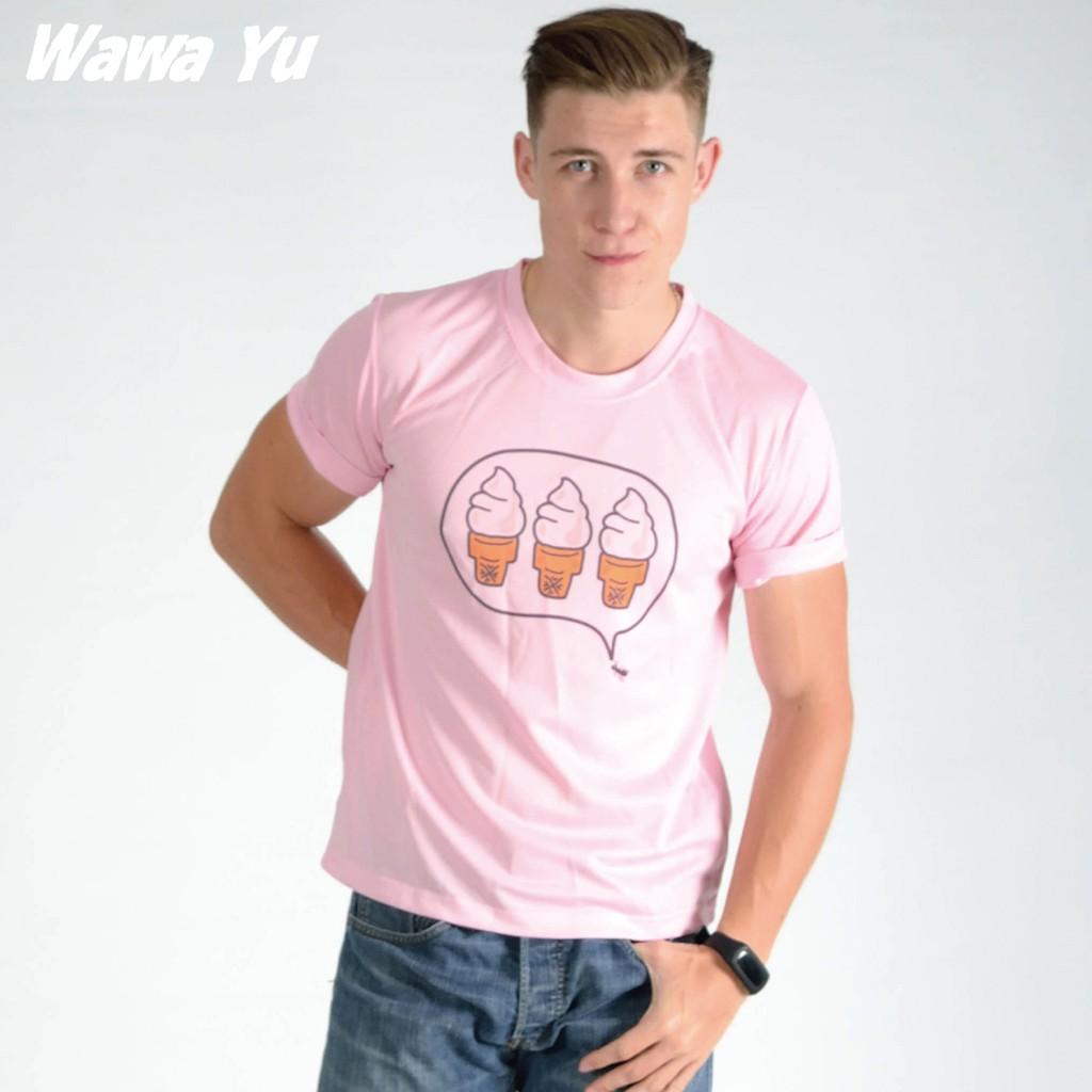 原創設計T恤 白-粉-水藍三色 (男中性款) XS-2XL尺碼 (圖案名稱-螞蟻也愛冰淇淋) [Wawa Yu品牌服飾]