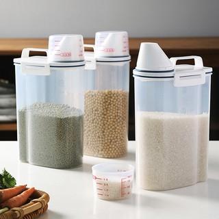 日式儲米罐 米桶 2.5L 手提 密封儲米桶 帶量杯 寵物飼料罐 飼料密封罐 寵物飼料桶 日式量杯罐 密封罐