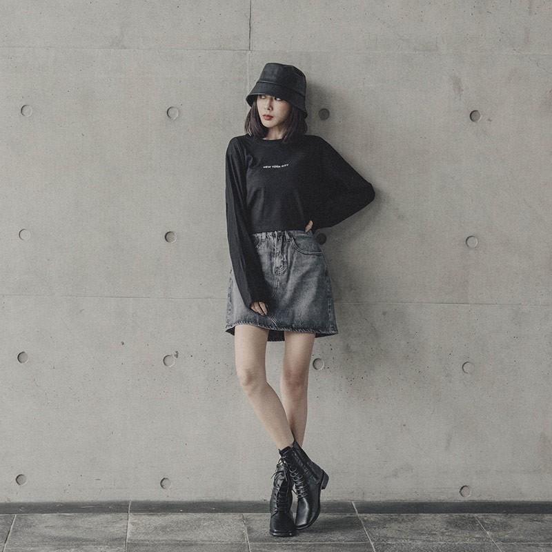 QUEENSHOP_F刷色設計牛仔短裙 S/M/L/XL現+預【03010766】