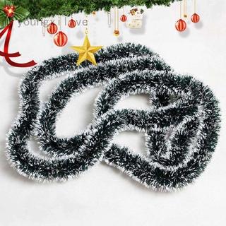 Youngxilive 200cm 彩色酒吧上衣絲帶花環白色深綠色甘蔗金屬絲派對聖誕樹裝飾品