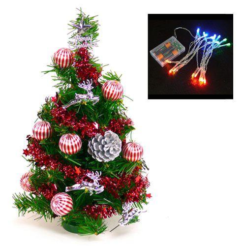 『心可樂活』台灣製迷你1呎/1尺(30cm)裝飾聖誕樹(藍銀色系)+LED20燈電池燈(本島免運費)