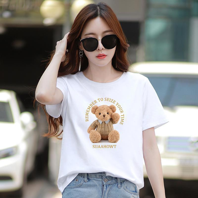 熱賣款短袖t恤女白色寬松百搭純棉體恤小熊印花上衣女士2021夏季裝新款免運