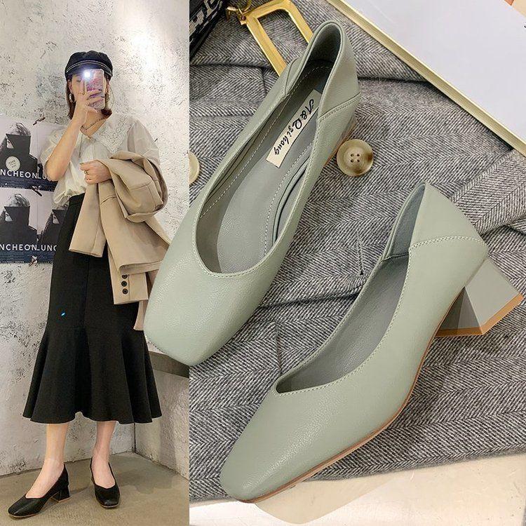 單鞋女2020秋季新款粗跟中跟百搭復古仙女軟皮奶奶鞋學生韓版高跟