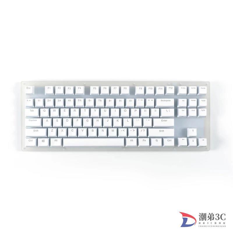 【台灣熱賣】Womier 87 鍵 K87 可熱插拔 RGB 遊戲機械鍵盤 80% 半透明玻璃基門龍開關, 帶晶體線底座