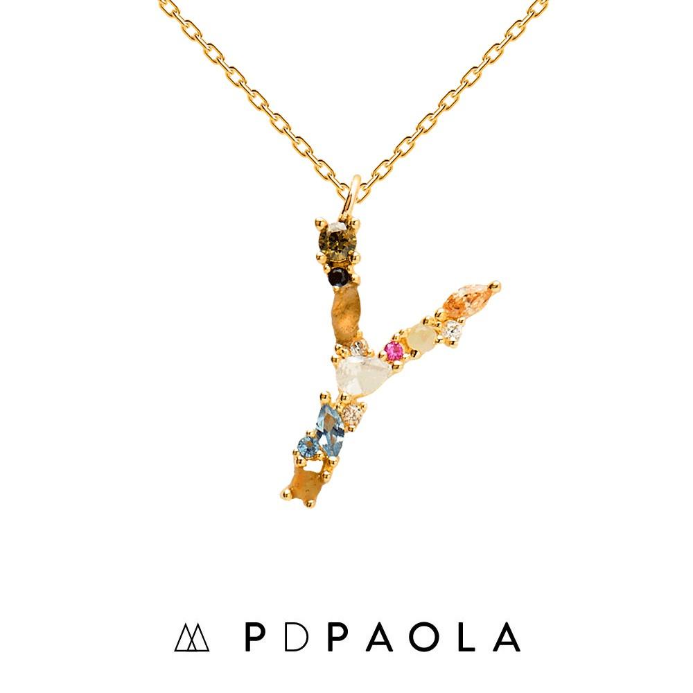 PD PAOLA 西班牙時尚潮牌 金色Y字母項鍊 彩鑽項鍊 925純銀鑲18K金