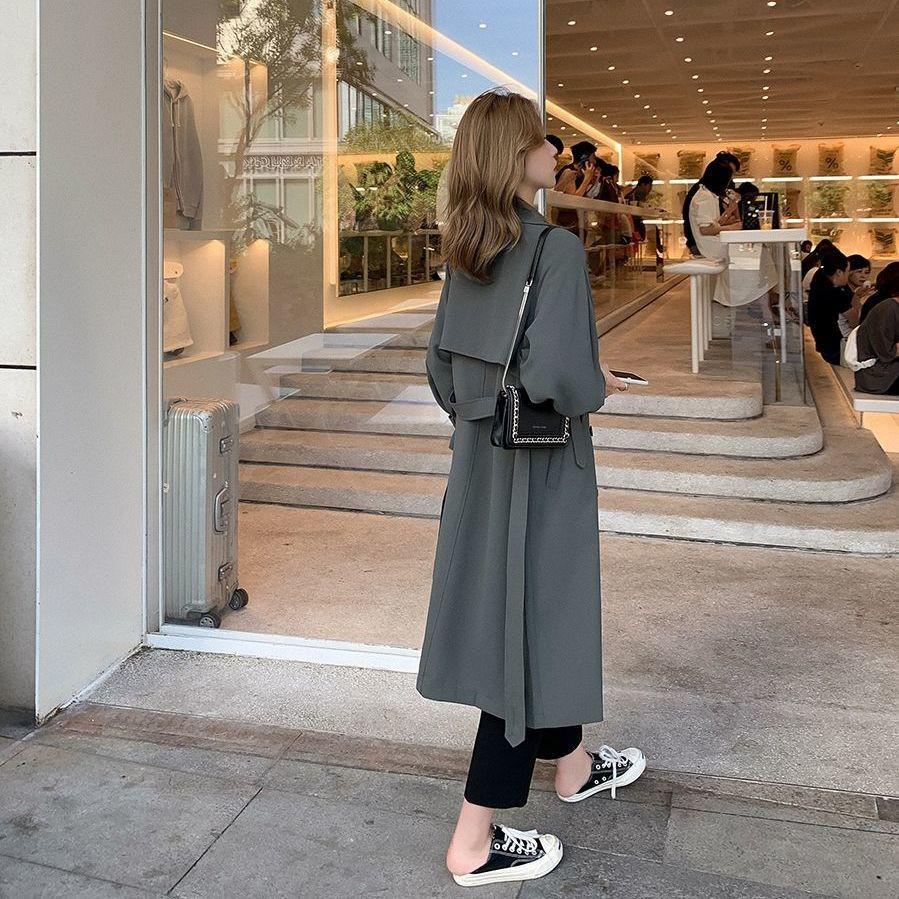 風衣 風衣外套 長款外套 大衣 風衣女長款秋裝新款秋季復古顯瘦外套韓版小個子素色氣質大衣