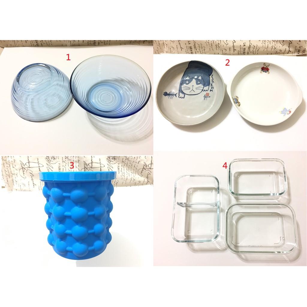 二手 玻璃 盤子 陶瓷 盤 碗 矽膠 保冰桶  玻璃保鮮盒 無蓋 限自取 中壢平鎮