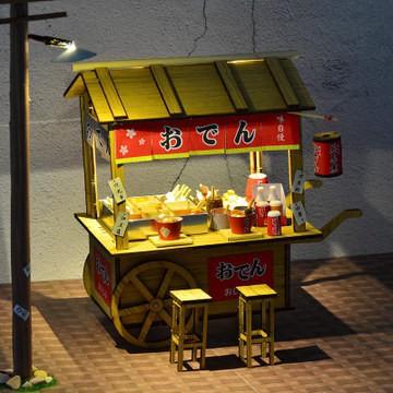 🌱小鬼頭百貨🌱 創意食玩木質拼裝模型木質diy小屋關東煮地攤夜市小吃攤車仔檔大