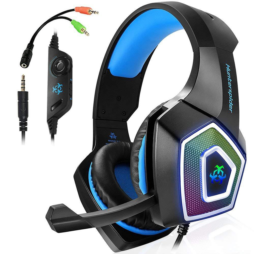 HUNTERSPIDER V1 頭戴式游戲耳機 RGB七彩發光有線耳機重低音耳麥現貨