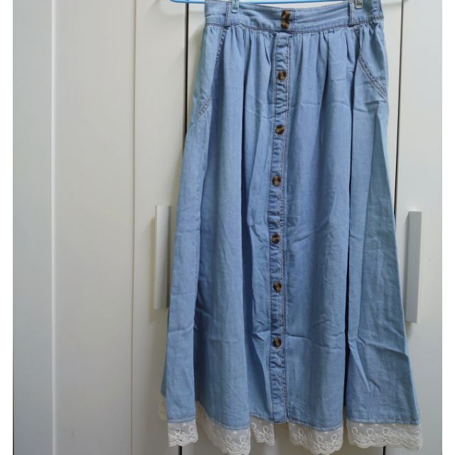 近全新 不定期下架 日系 森林系 裙擺蕾絲拼接長裙 深藍 淺藍 兩色可選 超可愛 森女 軟妹 必備