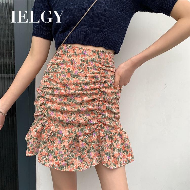 IELGY 半身裙女式高腰顯瘦碎花裙氣質荷葉邊半身裙