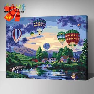 滿299發貨無框數字油畫 SZ (無框-含顏料畫筆)手繪風景彩畫熱氣球 放飛夢想 H048YH玖捌柒 新竹市