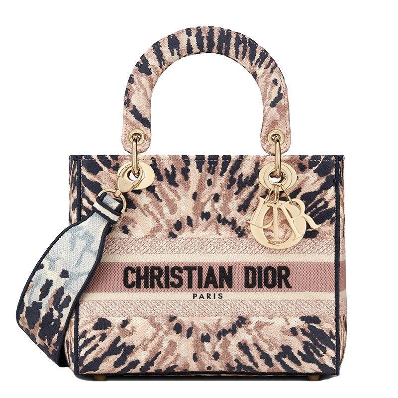 Dior迪奧正品DIOR迪奧 新款LADY D-LITE 五彩Tie&Dior刺繡帆布中號手提戴妃包