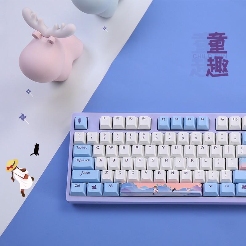 現貨免運達爾優機械鍵盤A840童趣櫻桃cherry軸熱升華PBT鍵帽游戲有線電競