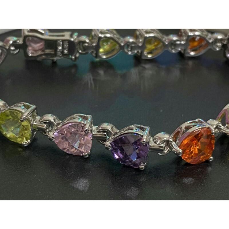 國際R925銀鍍銠5彩心鑽手環,爪鑲頂級cz鑽,收藏10年,不氧化