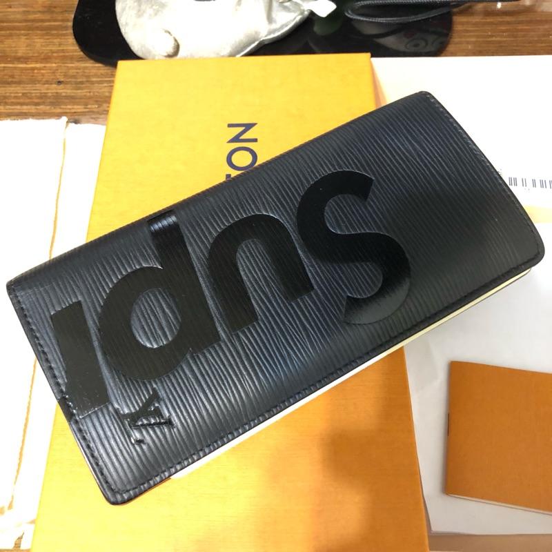 Louis Vuitton LV x SUPREME 長夾 黑 水波紋